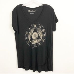 Lucky Brand Tops - Lucky Brand Black Graphic T-Shirt - Size Large